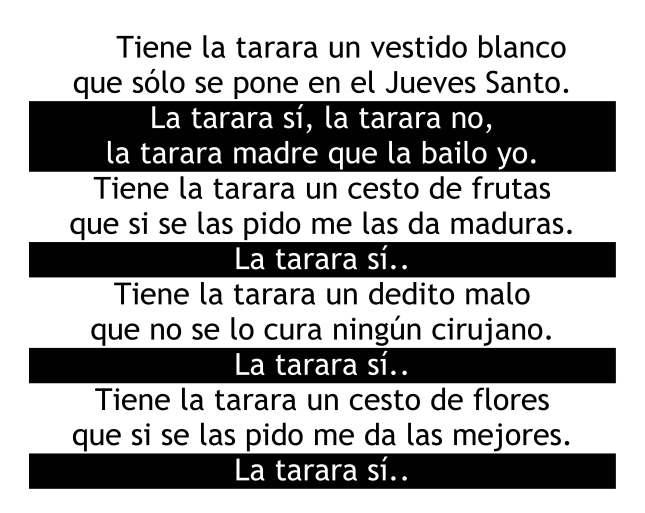 """Letra """"LA TARARA"""""""